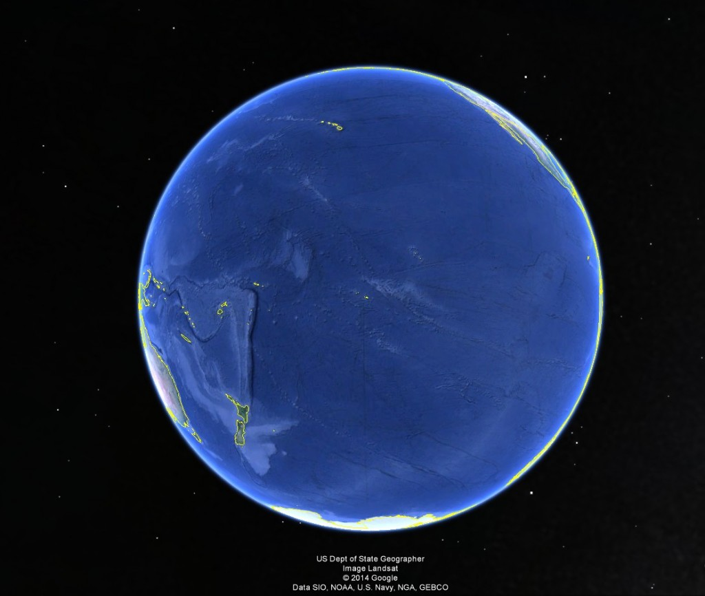 Earth as a water planet: A view of Earth centered approximately on Tahiti.