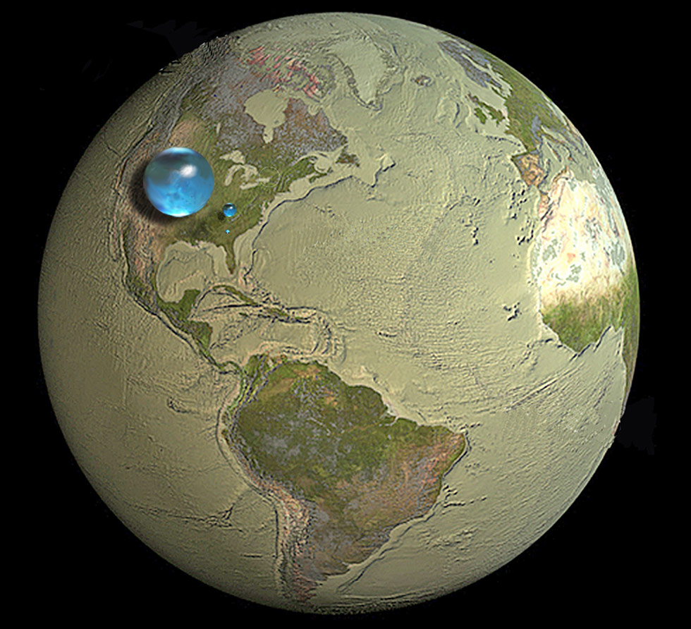 All the water of Earth collected together.  http://water.usgs.gov/edu/earthhowmuch.html