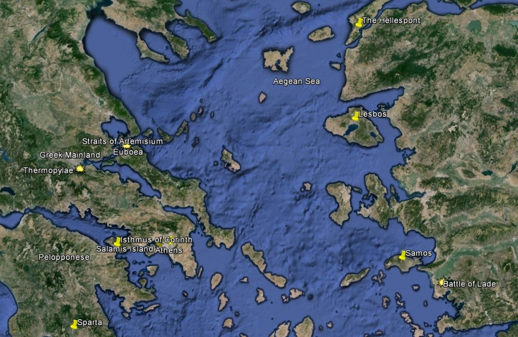 Greece, the Aegean, and the Ionian coast, with major landmarks and battles indicated