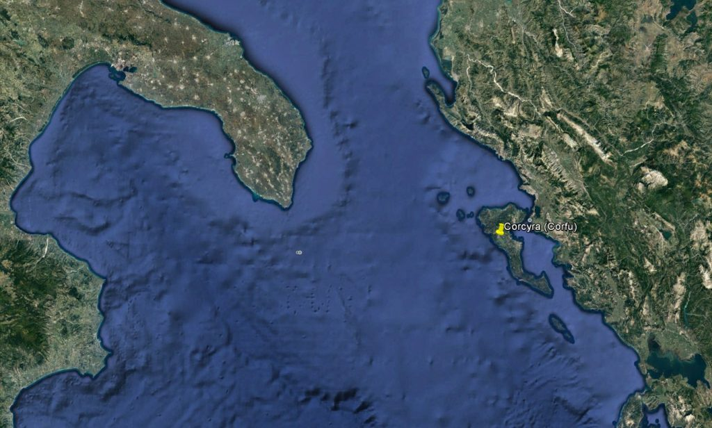 Corcyra (Corfu) in relation to Italy and mainland Greece.