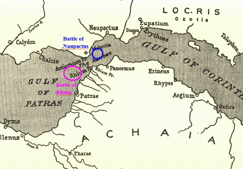 The locations of the Battles of Rhium and Naupactus, 429 BC